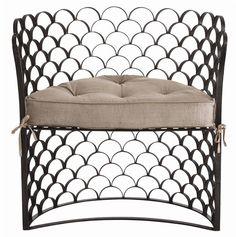 via BKLYN contessa ::  mig and tig :: scalloped iron & linen chair :: bathroom vanity