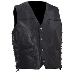Diamond Plate™ Rock Design Genuine Buffalo Leather Vest-Size 3XL