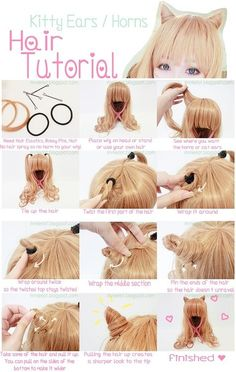 how to do kawaii kitty hair. Could be used for Cheshire cat...