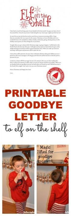 A printable goodbye letter for Elf on the Shelf. Perfect way to wrap up all the fun-even has a reminder about the reason for the season. A MUST HAVE if you do Elf on the Shelf. - Balancing Home