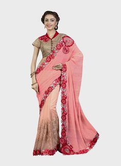Aristocratic Georgette Patch Border Work Designer Saree