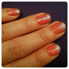 Pink coral gel nails with glitter ombré tips #sensationail #nailpolish #manicure #nailart #nailpictures #nailpics #ombre