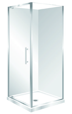 Features Low profile tray with 40mm upstand Tray is Centre Waste as standard but also available in Corner Waste. 1950mm high glass. 6mm safety glass Safety Standard Pivot Door Modern 1-piece design left hand model. One piece acrylic lining.  Available in Silva and White
