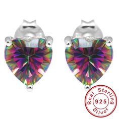 Heart Natural Mystic Rainbow Topaz Earrings Stud Only $25.99 => Save up to 60% and Free Shipping => Order Now! #Bracelets #Mystic Topaz #Earrings #Clip Earrings #Emerald #Necklaces #Rings #Stud Earrings