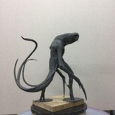 Sculpture in plasticine. Dark Creatures, Alien Creatures, Fantasy Creatures, Creature Concept Art, Creature Design, Monster Sketch, Alien Concept, Alien Races, Macabre Art