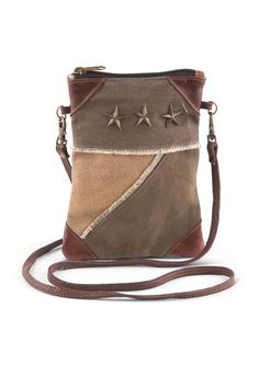 "Decorated with three antique metal stars and genuine leather accents on all four corners of multicolored canvas, the Tri Corner mini crossbody bag is bound to become a collection favorite.    Size : 6"" W x 8"" H    Tri Corner Crossbody by A Little Bit Hippy. Bags - Cross Body Roanoke, Virginia"