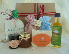 Gift basket Greek Products All Natural Organic by MelirrousBees Raw Pistachios, Honey Soap, Tea Gifts, Gourmet Gifts, Drying Herbs, Gift Sets, Natural Products, Sea Salt, Herbalism