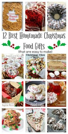 Everyone loves a good homemade baked gift and here are the Best Homemade Christmas Food Gifts. The best part is that they're super easy to make too! Edible Christmas Gifts, Christmas Party Food, Edible Gifts, 12 Days Of Christmas, Christmas Candy, Christmas Baking, Christmas Foods, Baked Goods For Christmas Gifts, Christmas Cookies