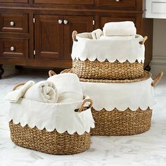 Bunny Williams Nesting Baskets with Scalloped Liner - Set of 3 Decoupage Desk, Sorting Clothes, Office Items, Gal Meets Glam, Desk Set, Ballard Designs, Animals For Kids, Storage Baskets, Home Organization