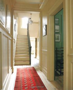 Small hall painting ideas decoration fabulous hall runner and great light small hallway paint colour ideas Hall Paint Colors, Hall Colour, Hallway Colours, Paint Colors For Living Room, Farrow Ball, Hallway Paint, Paint Bathroom, Hall Painting, Small Hallways