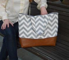 Gray Chevron tote, Market bag, Diaper bag, Everything Bag, Zig Zag,. $75.00, via Etsy. Maybe my favorite so far!