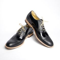 Patent leather oxford. Each pair was custom-made by the artisan shoemakers at goodbye folk.