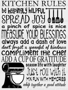 Kitchen Rules SVG, DXF, EPS, PNG Digital File – Wickedly Cute Designs