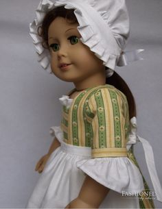"""Colonial styled two piece outfit made for 18"""" American Girl doll"""