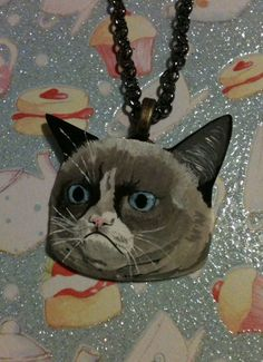 OOAK Grumpy Cat Necklace Hand painted Hand by RockabillyBabyShop, $20.29