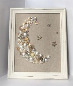 Vintage jewelry art // pearl moon stars shabby chic by BumbleandRo #ClassicalVintageJewelry