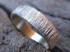 mens wedding band - sterling silver bark texture wedding ring for men and women - 5mm - handmade - made to order. $55.00, via Etsy.