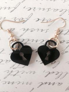 Laser Cut Acrylic Heart Lock Hook/Dangle Earrings by emikoshop