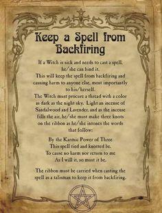 Keep a Spell from Backfiring for Homemade Halloween Spell Book. Magic Spell Book, Witch Spell Book, Witchcraft Spell Books, Magick Spells, Halloween Spell Book, Halloween Spells, Wiccan Magic, Wiccan Witch, Dark Magic Spells