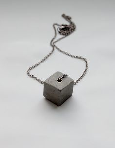 Square Concrete Pendant Necklace Gray Concrete by MapleandMauve