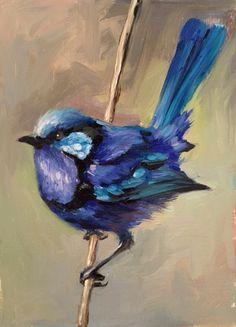 Splendid Fairy Wren by Shauna Finn Bird Paintings On Canvas, Bird Painting Acrylic, Bird Artwork, Spring Painting, Watercolor Bird, Animal Paintings, Painting & Drawing, Watercolor Paintings, Canvas Art