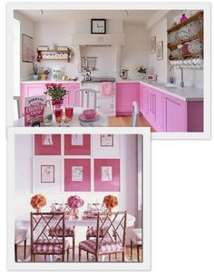 who wouldn't want a pink kitchen... love the stove fan style