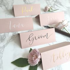 Blush Tent-Fold Place Cards // Wedding Calligraphy // Rose