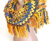 multicolor crochet wool shawl,for woman,gift ideas,spring time,winter trends,warm,yellow,blue,orange,mothers day gift ideas,crochet trends