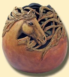 Group_Horses - Carved and Sculptured Gourds...with a passion by Phyllis Sickles