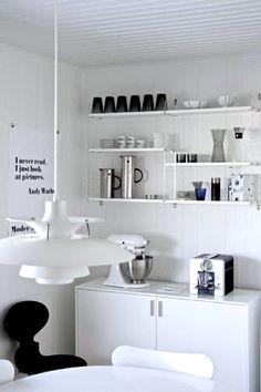 Via String System | PH Lamp | Arne Jacobsen Ant Chair | White Kitchen