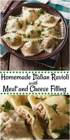 Homemade Italian Ravioli with Meat and Cheese Filling are pasta pillows filled to bursting with a spicy meat filling. Authentic Italian flavors and recipe. pasta Italian Ravioli with Meat & Cheese Filling - All Our Way Homemade Ravioli Dough, Homemade Pasta Recipes, Ravioli Dough Recipe, Ravioli Sauce, Homemade Recipe, Pasta Casera, Filling Food, Cheese Ravioli Filling, Pasta Cheese