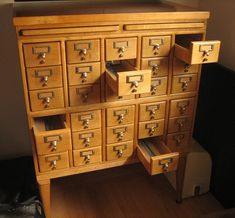 Our latest purchase, a Remington Rand library card catalog, quite similar to this one.