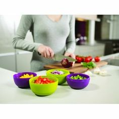 Joseph Jospeh Prep and Store Compact Food Preparation Bowls, Green and Aubergine, Set of 4: Amazon.ca: Home & Kitchen // $14.99