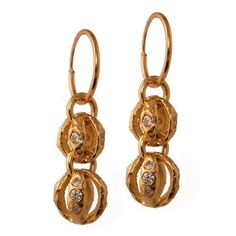 Gold Lotus Double Drop Earring with Stones