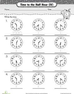 First Grade Time Worksheets: On the Half Hour: Telling Time with Clockwork Cat