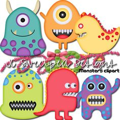 Monsters Clip Art Commercial or Personal Use - INSTANT DOWNLOAD