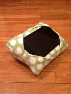 """Celery Green With White Polka Dots Fleece - iWedge Mini- 7"""" Tablet Pillow Cushion Stand"""