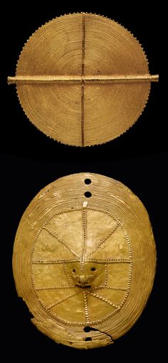 Africa | Jewellery and clothing ornaments from the Akan people of the Ivory Coast | Top) Gold alloy;