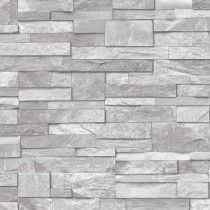 Grandeco Stone Brick Effect Wallpaper in Light Grey - A17202