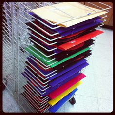 Elementary time saver in art- when putting artwork in the drying rack, do it in table order and file in the color folder for each table as you go. When the artwork is dry, simply place it back in the folder to store for the next class. No more trying to figure out where each owner is!!