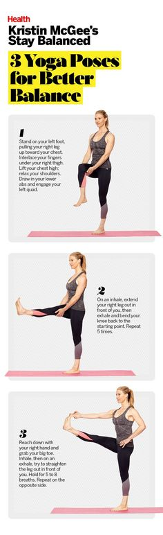 3 Yoga Poses for Better Balance Yoga's secret perk? Here's how to build a strong foundation while you get bendy. Physical Fitness, Yoga Fitness, Fitness Nutrition, Exercise Motivation, Fitness Motivation, Kristin Mcgee, Mat Yoga, Yoga For Balance, Balance Exercises