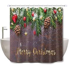 Abaysto Merry Christmas Ball Pinecone Green Leaves Rustic Wooden Polyester Fabric Shower Curtain Sets with Hooks Waterproof Mildew Bathroom Decor -- For more information, visit image link. (This is an affiliate link) Shower Curtain Sets, Fabric Shower Curtains, Christmas Balls, Merry Christmas, Pinecone, Green Leaves, Hooks, Image Link, Rustic