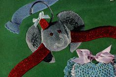 Elephant Hanger crochet pattern from Quick to Make Gifts, originally published by Coats & Clark's O., Book No. from FREE PATTERN Crochet Pillow, Crochet Baby, Free Crochet, Irish Crochet, Crochet Coat, Crochet Clothes, Vintage Crochet Patterns, Baby Patterns, Animal Knitting Patterns