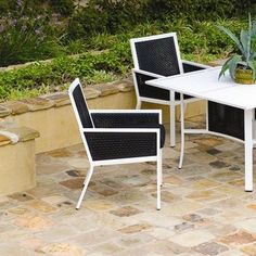 Koverton Parkview Woven Dining Arm Chair with Cushion Wicker Panels: Black, Fabric: Canvas Ginkgo, Frame: Gloss White