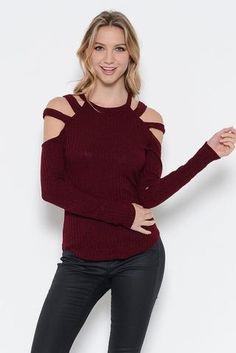 Open Shoulder Sweater Top