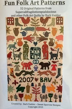 Fun Folk Art Patterns by FunWithBarb on Etsy Primitive Quilts, Antique Quilts, Vintage Quilts, Wool Quilts, Appliqué Quilts, Pattern Art, Art Patterns, Applique Patterns, Quilt Stitching