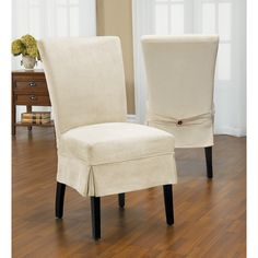 Duck Mid Pleat Relaxed Fit Dining Chair Slipcover With Buttons