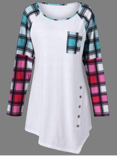GET $50 NOW | Join RoseGal: Get YOUR $50 NOW!http://www.rosegal.com/plus-size-t-shirts/raglan-sleeve-plaid-plus-size-957324.html?seid=3107396rg957324