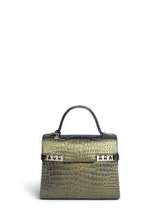 c76e7b33d4860c DELVAUX -  Le Tempête MM  crocodile leather bag   Blue Day Exotics
