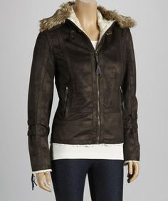 Take a look at this Coffee Faux Fur Trim Jacket - Women by Montanaco on #zulily today!
